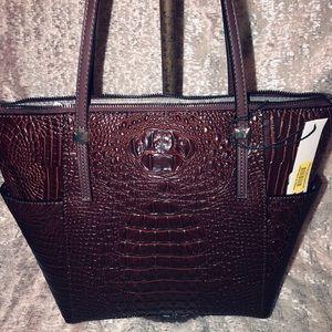Kate Landry hornback lg ostrich brown purse
